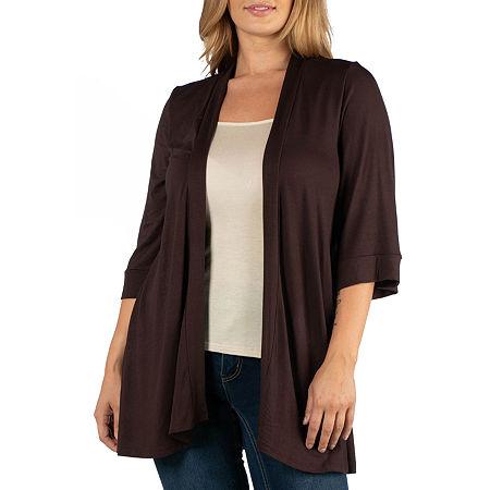 24/7 Comfort Apparel Open Front Elbow Sleeve Cardigan - Plus, 5x , Brown