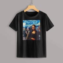 Camiseta con estampado de Mona Lisa y pintura al oleo