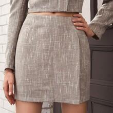 Zipper Back Wrap Hem Tweed Skirt