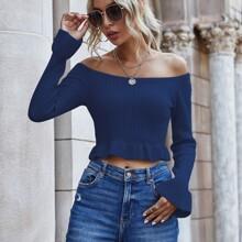 Bardot Flounce Sleeve Ruffle Hem Crop Sweater