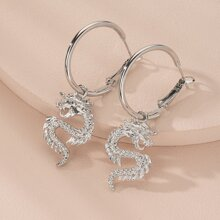 Dragon Charm Drop Hoop Earrings