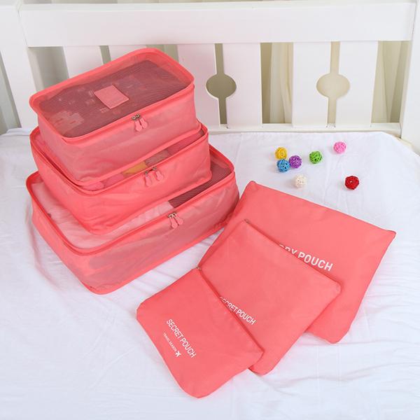 6Pcs Red Thickening Multi-Functional Waterproof Travel Storage Bags Luggage Organizers