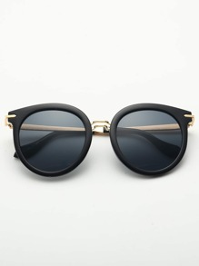 Solid Frame Flat Lens Sunglasses