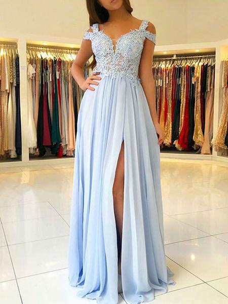 Milanoo Chiffon Evening Dress A Line V Neck Floor Length Split Front Party Dresses Prom Dresses