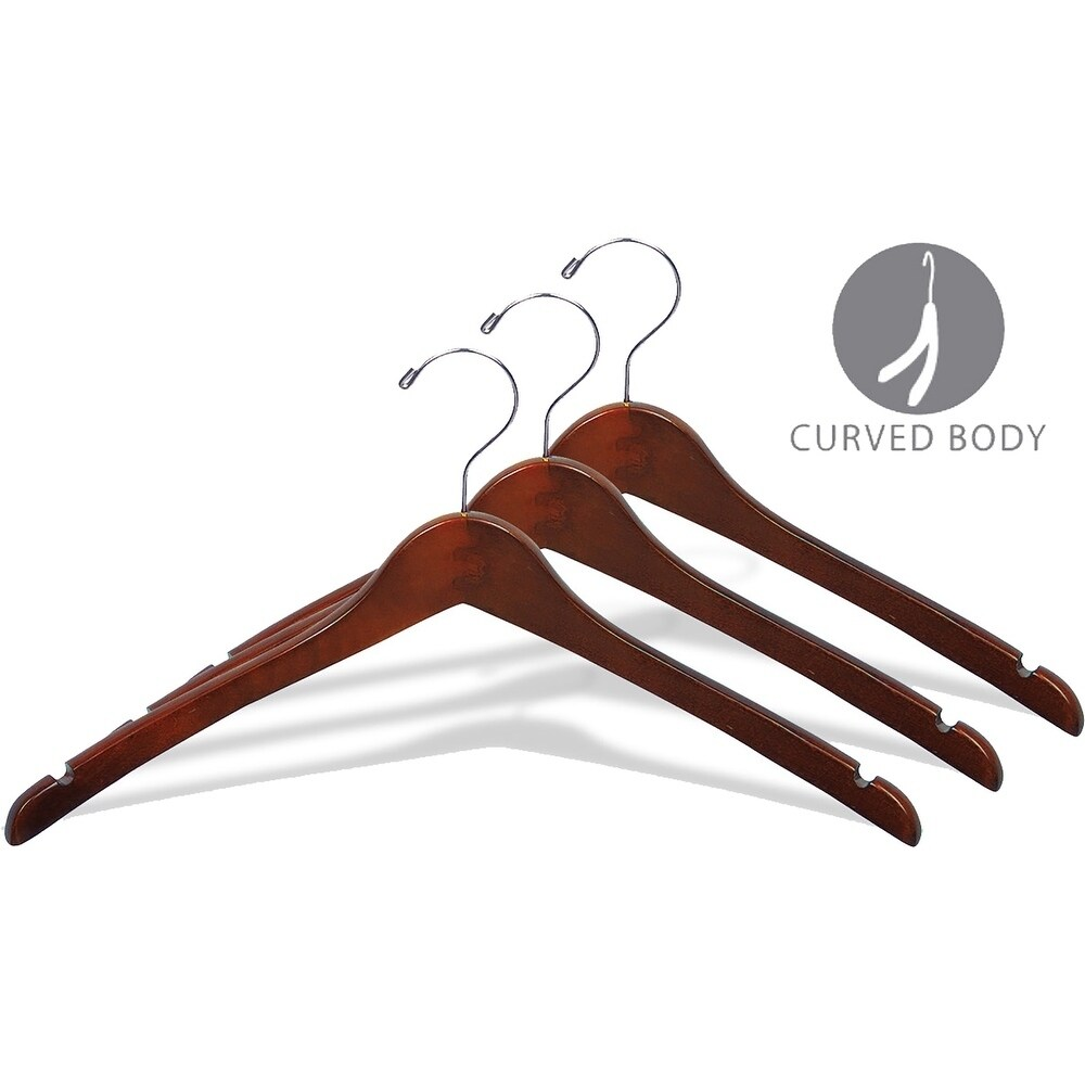 Curved Wooden Top Hanger with Walnut Finish, 1/2 Inch Thick Hangers with Chrome Swivel Hook & Notches for Hanging Straps (box of 50)