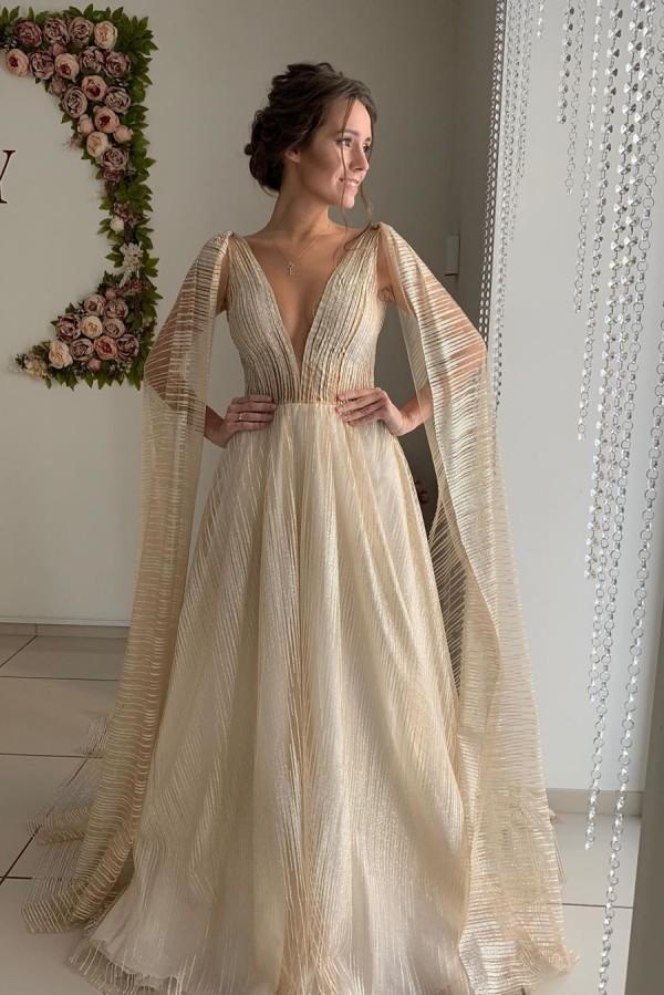 Pluging V-Ausschnitt Guenstige Champange Durchsichtiges Brautkleid