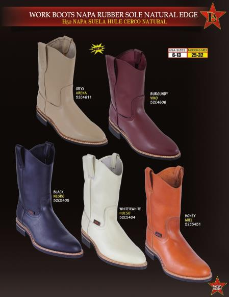 Mens Napa Leather Rubber Sole Natural Edge Cowboy Western Work Boots