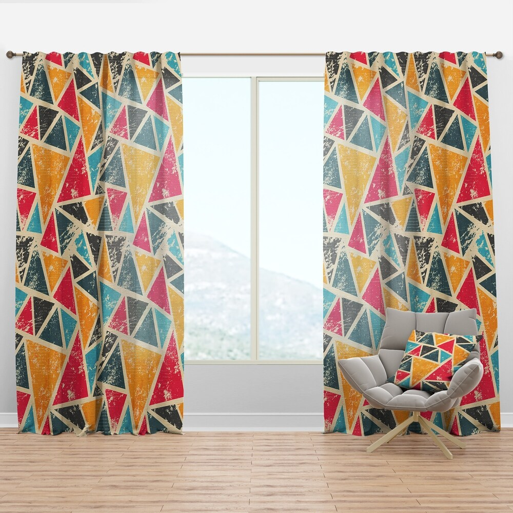 Designart Vintage Triangulare Geometry with Yellow, Blue and Black Modern & Contemporary Curtain Panel (50 in. wide x 63 in. high - 1 Panel)