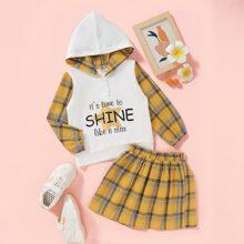 Outfits dos piezas para niña pequeña Boton Tartan Preppy