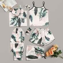 7pcs Tropical Print Satin Pajama Set