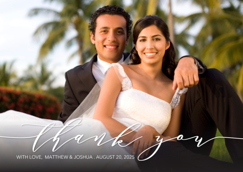 Wedding Thank You 5x7 Cards, Premium Cardstock 120lb, Card & Stationery -Thank You Grateful by Tumbalina