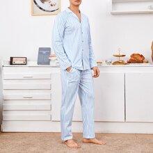 Men Vertical Striped Pajama Set