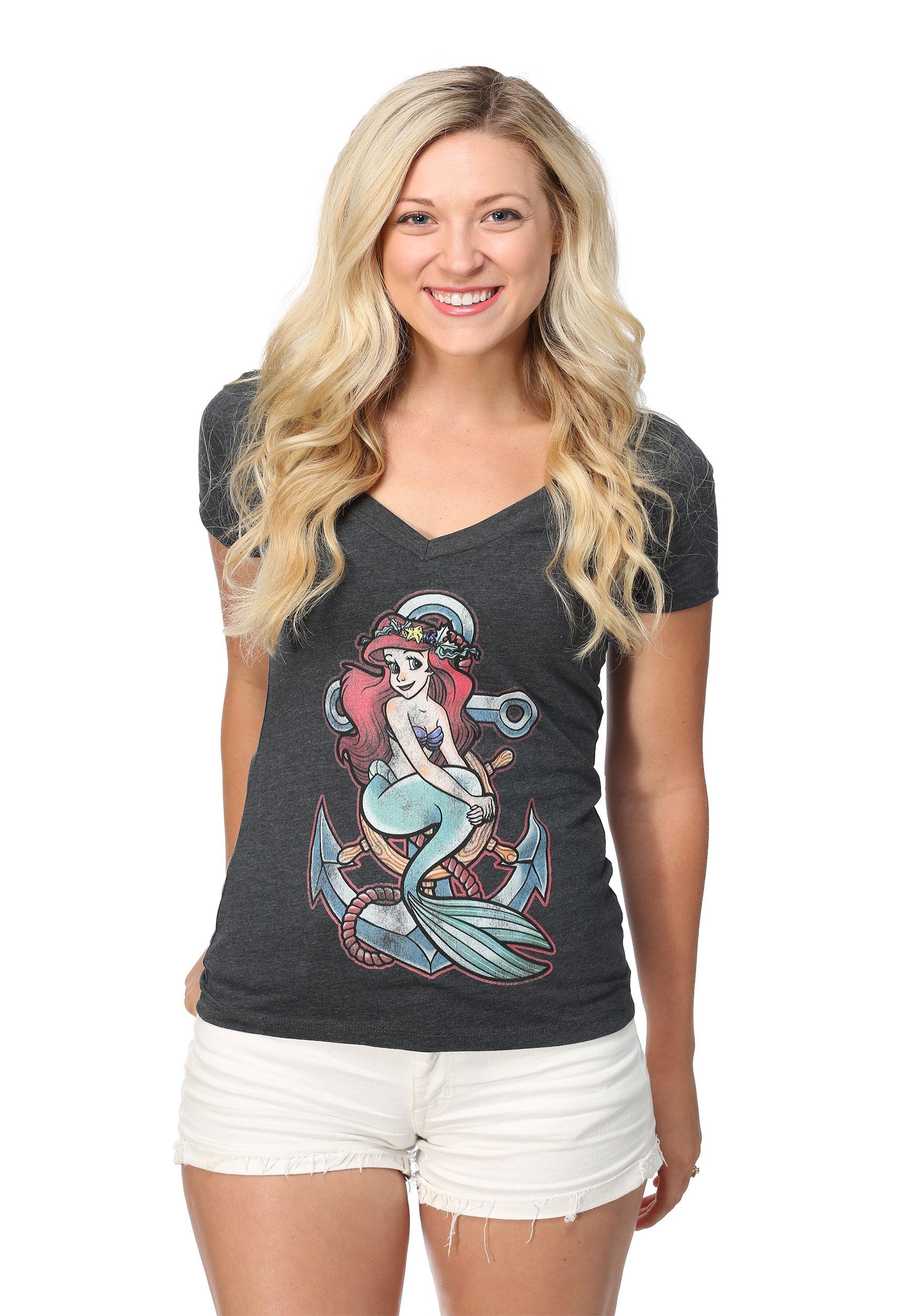 The Little Mermaid Ariel Anchor Womens V-Neck Tee
