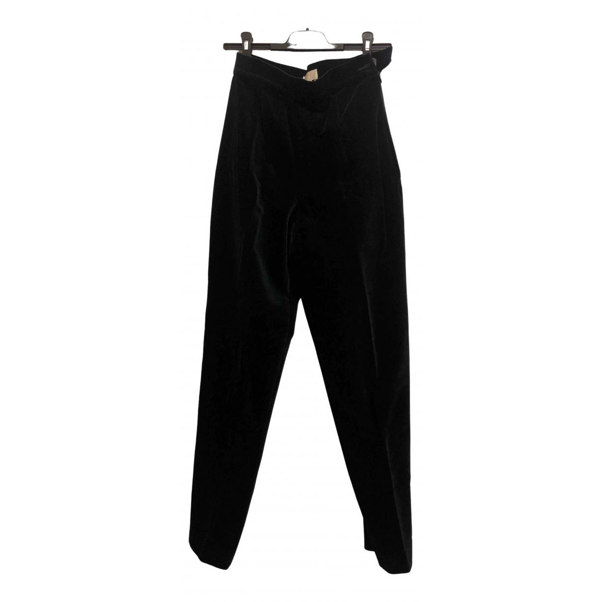 Paule Ka N Green Cotton Trousers for Women 38 FR