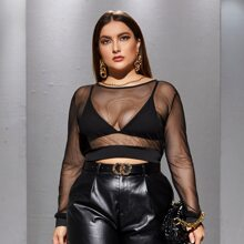 Plus Sheer Mesh Crop Top Without Bra