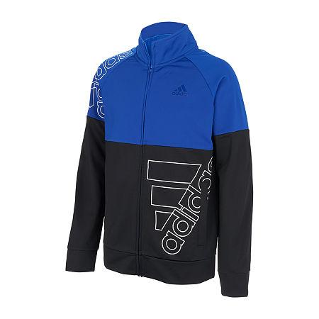 adidas Big Boys Lightweight Track Jacket, Medium (10-12) , Blue