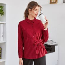 Single Breasted Knot Side Corduroy Coat