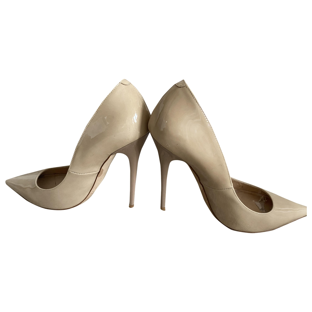 Jimmy Choo Anouk Beige Leather Heels for Women 5 UK