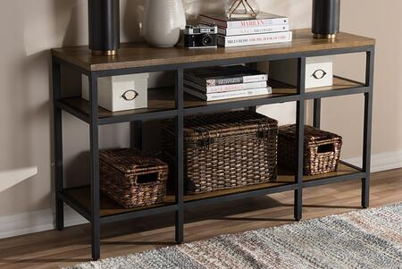 YLX-0005-ST Baxton Studio Caribou Rustic Industrial Style Oak Brown Finished Wood and Black Finished Metal Console