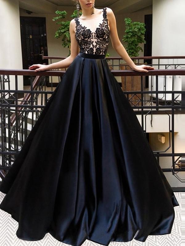 A-Line Scoop Floor-Length Appliques Evening Dress