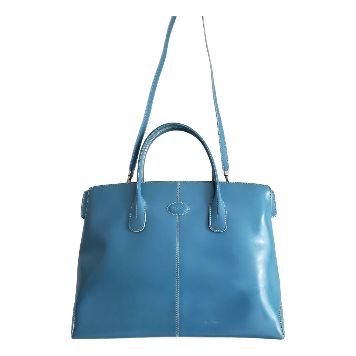 Tods - Sac a main   pour femme en cuir verni - bleu