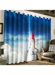 3D Rocket Flying in the Blue Sky Printed 2 Pieces Custom Curtain for Living Room