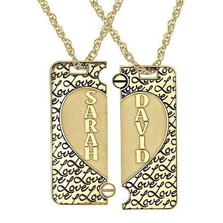 Personalized 14K Gold Over Silver Couple's Name Puzzle Heart Pendant Necklaces, One Size , No Color Family