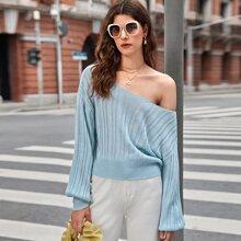 Drop Shoulder Rib-knit Sweater