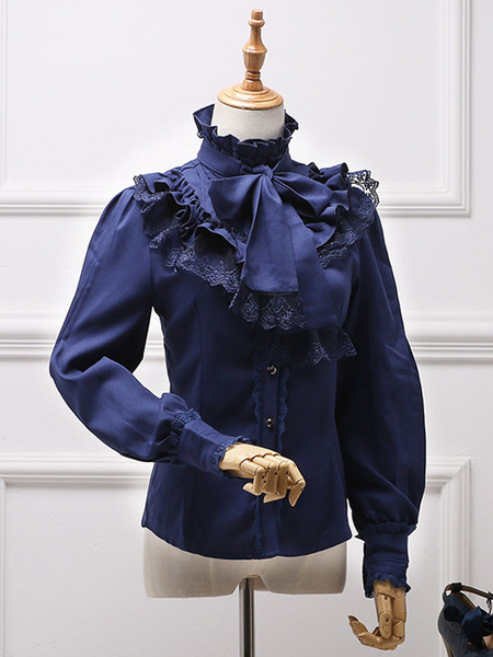 Milanoo Classic Lolita Blouse White Bow Ruffle Lace Chiffon Lolita Shirt