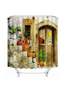 Quaint Door and Colored Flowers 3D Printed Bathroom Waterproof Shower Curtain