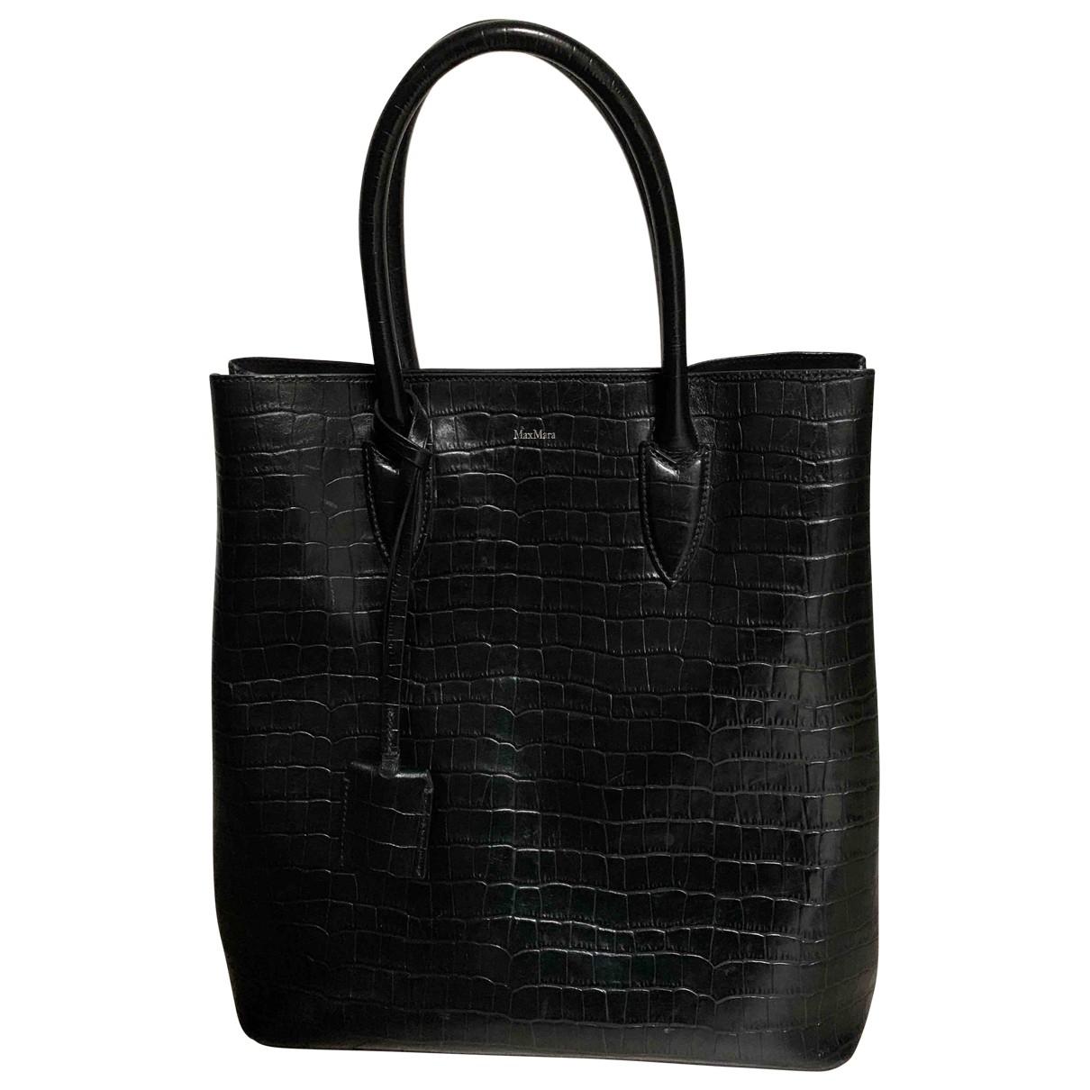 Max Mara \N Handtasche in  Schwarz Leder