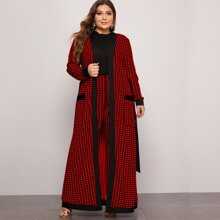 Plus Pocket Patched Belted Houndstooth Coat & Leggings Set
