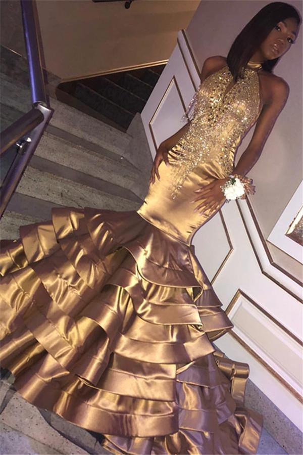 Glamour dor sirene col haut sans manches volants robes de bal en cristal