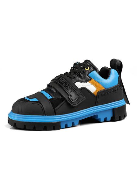 Milanoo Zapatillas de deporte para hombre, blanco crudo, moda, cuero de PU, punta redonda, ilustraciones, zapatos deportivos