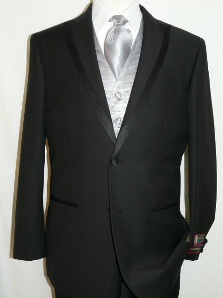 Spencer Tuxedo Soft Micro Fiber Peak Lapel 2 Button Plain Front Pants