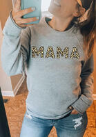 Leopard Mama O-Neck Sweatshirt - Light Grey