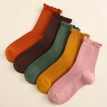 5pairs Frill Trim Socks