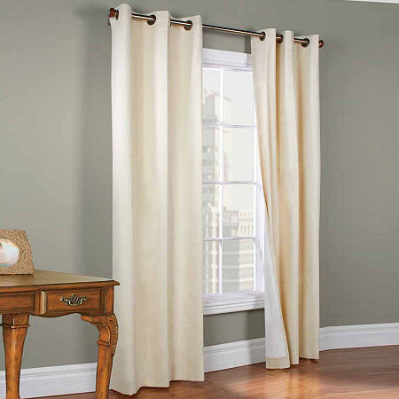Weathermate Energy Saving Blackout Grommet-Top Set of 2 Curtain Panel, One Size , White