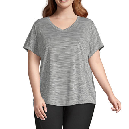Xersion Womens V Neck Short Sleeve T-Shirt Plus, 3x , Gray