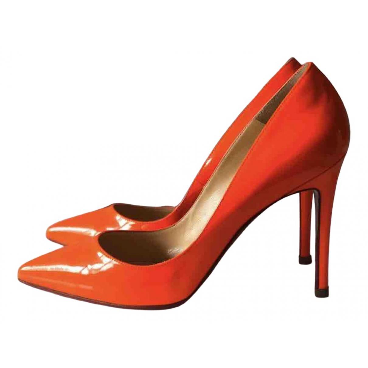 Christian Louboutin - Escarpins   pour femme en cuir - orange