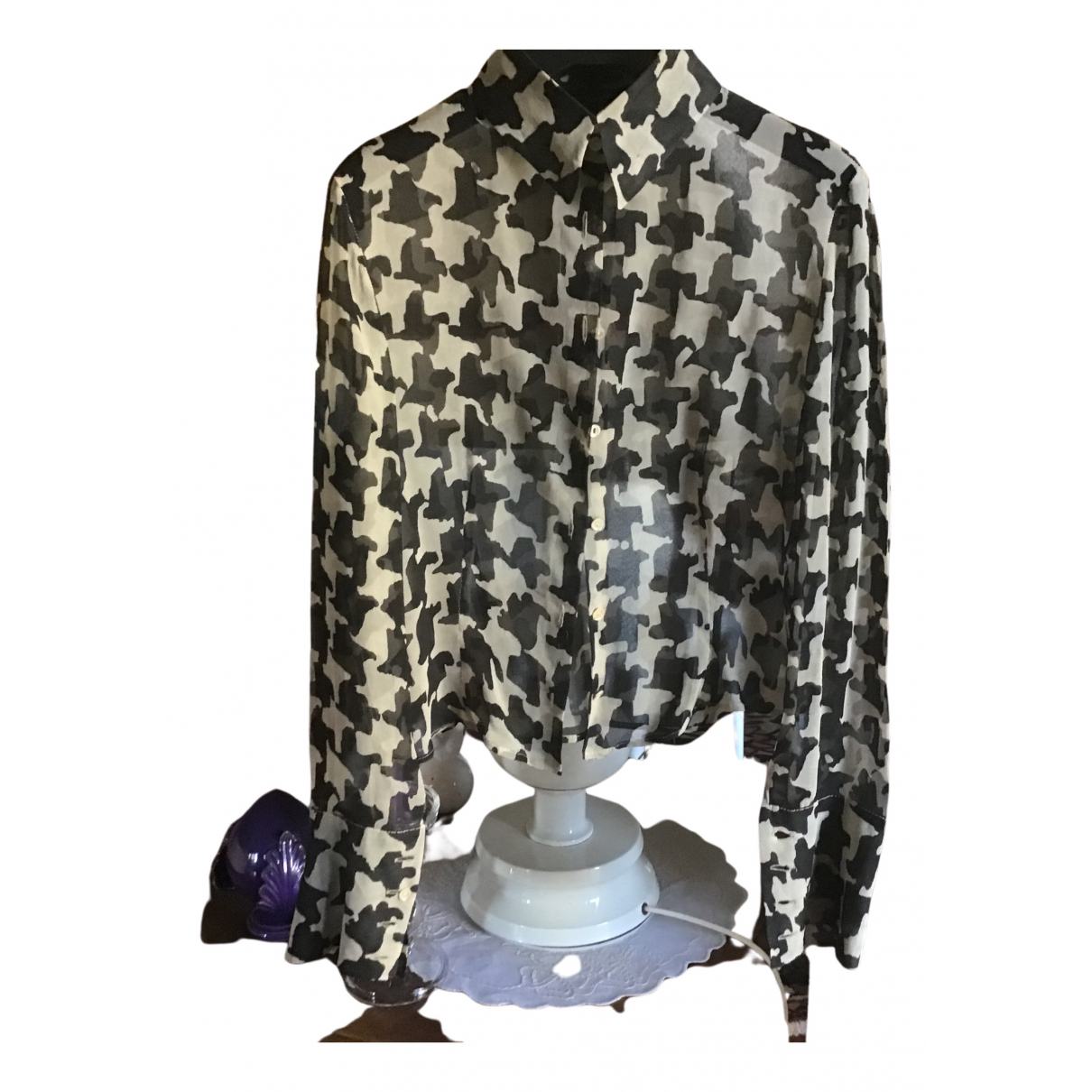 Non Signé / Unsigned N Ecru Silk  top for Women 42 IT
