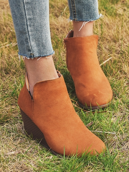 Yoins Large Size Ladies Fashion Wedges Ankle Boots