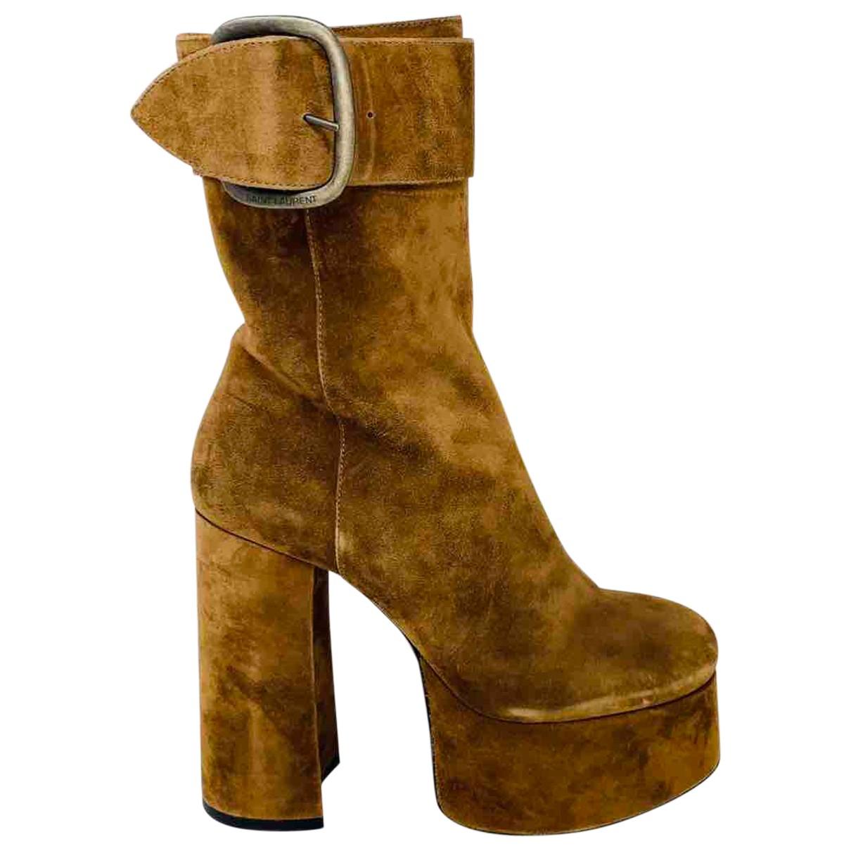 Saint Laurent Billy Camel Suede Ankle boots for Women 39 EU
