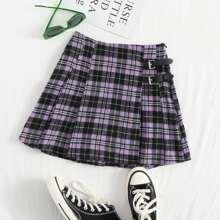 Plus Tartan Print Pleated Skirt
