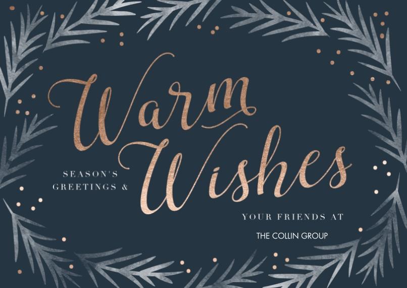 Seasonal Flat Business Greeting Cards, Business Printing -Brushed Border