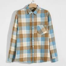 Guys Pocket Front Plaid Shirt