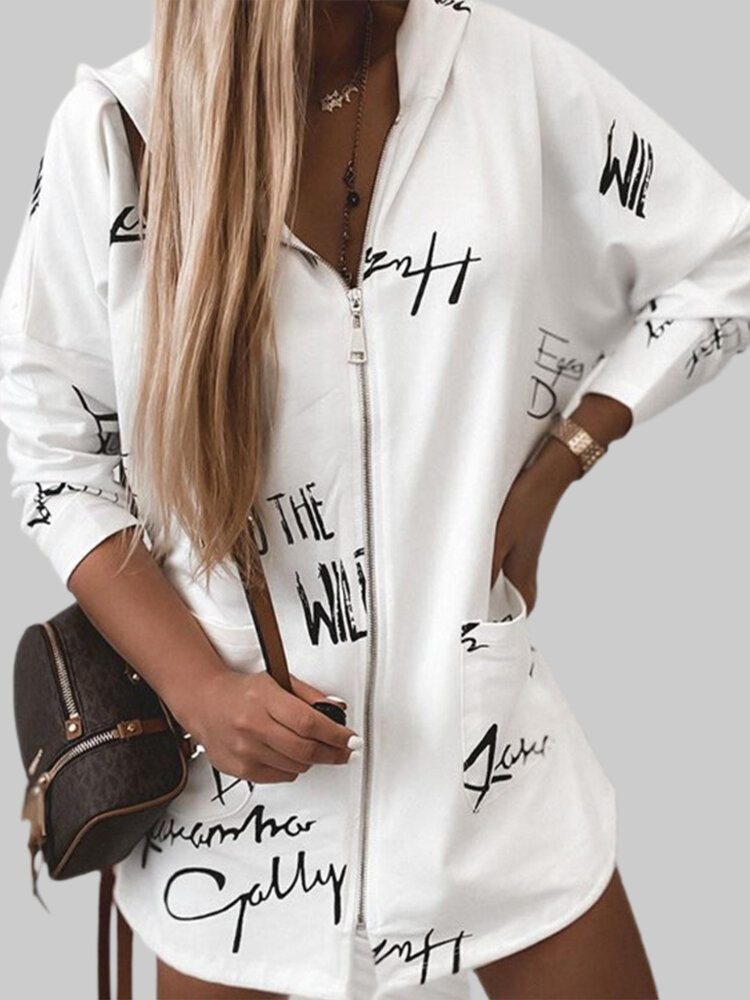 Letter Print Hooded Long Sleeve Casual Coat For Women