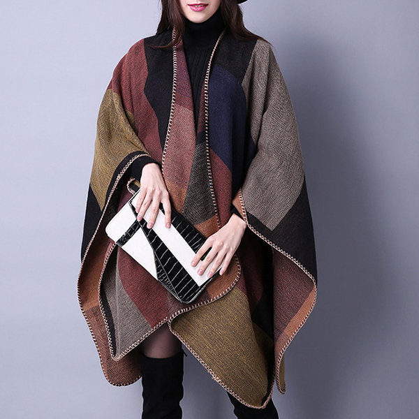 Women Winter Plaid Artificial Cashmere Scarves Shawl Casual Ethnic Warm Split Ends Thicken Cloak