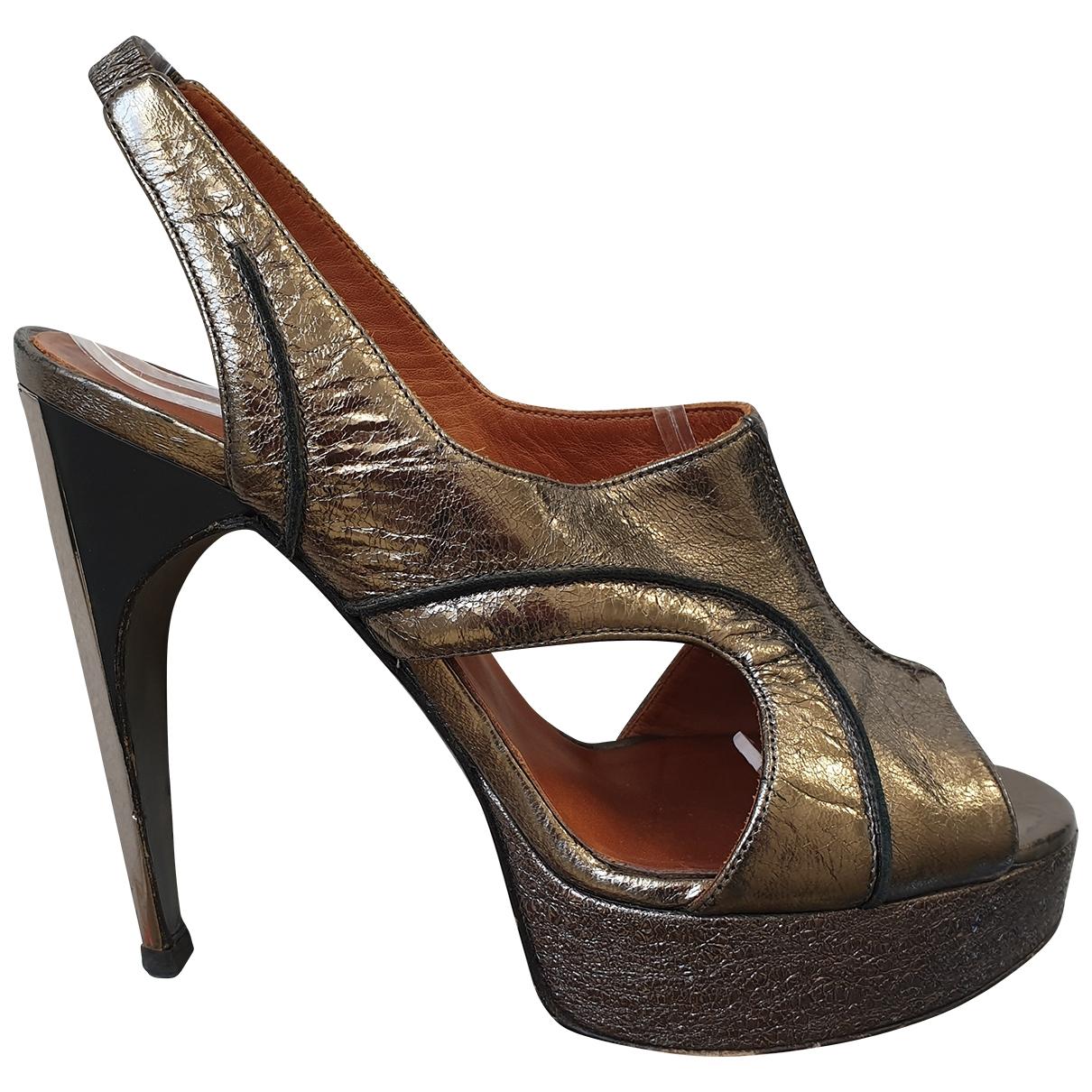 Lanvin - Sandales   pour femme en cuir - argente