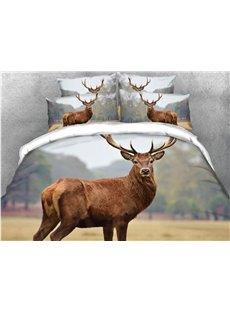 Red Deer Looking Back On The Grassland 3D Printed 5-Piece Comforter Sets